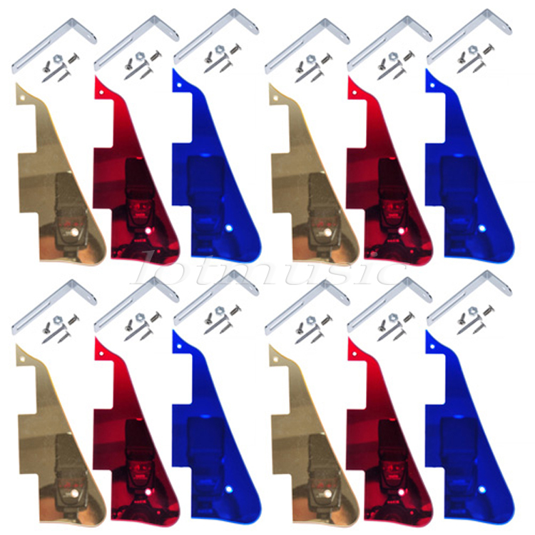 New 12Pcs Mirror Pickguard Gold Blue Red With Chrome Bracket For Electric Guitar Replacement silver mirror hss st strat style guitar pickguard scratch set mirror pickguard mirror back plate chrome pickguard screws hot