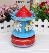 40pcs/lot Animated Classic 4 Horse Go Round Musical Carousels Box DHL Fedex Free Shipping