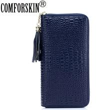 COMFORSKIN marka avrupa ve amerikan timsah desen kadın çantalar lüks hakiki deri kadın uzun organizatör cüzdan