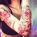 2 UNIDS/LOTE Moda A Prueba de agua Tatuaje Temporal Mujeres Rose Diseño de Henna Tatuaje Temporal De La Etiqueta Engomada Del Tatuaje Transferible