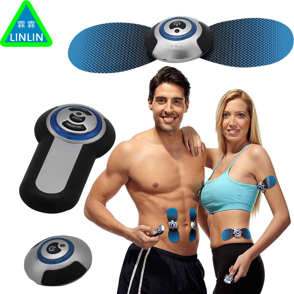 LINLIN AB swift Mini Electrical Pulse Therapeutic Massage Electronic Butterfly Massager Body Care Machine Blue 2017 hot sale mini electric massager digital pulse therapy muscle full body massager silver