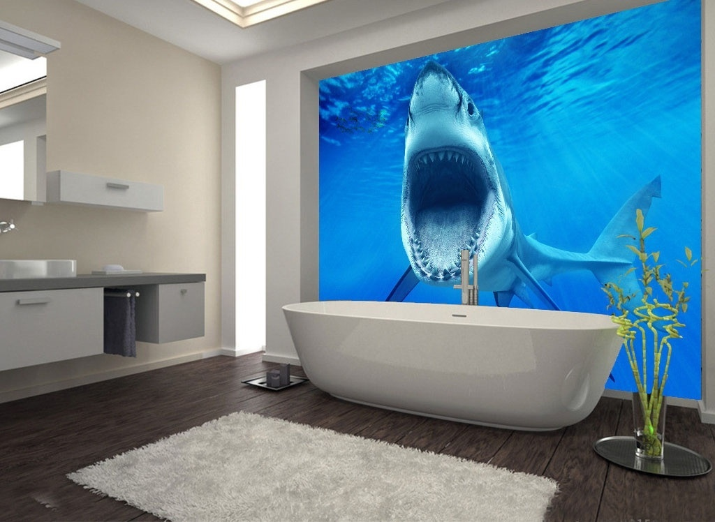 Large 3D Wall Stickers Sharks Underwater World Shower Bathtub Art Wall Mural Floor Decals