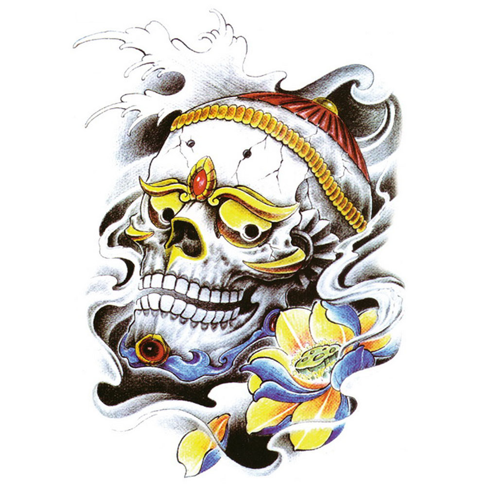 Yeeech Temporary Tattoos Sticker for Men Women Large Fake King Skull Lotus Tribal Designs Arm Leg Back Body Art Waterproof Make