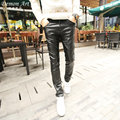 2017 New Arrive Men's Skinny Leather Pants Casual Fashion Denim stitching Cool Jeans Size:28-34 Free Shipping 1182