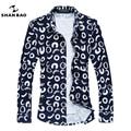 Plus size 5XL 6XL 7XL Marca homens da camisa de algodão mercerizado camisa business casual Magro Moda Primavera/Outono longo-camisa de mangas compridas