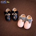 Baby Shoes Girl 2017Spring Footwear Kids Wedding Hollow Out Solid PU Leather Bow Tie Soft Bottom Dress Pink Black Shoes for Girl