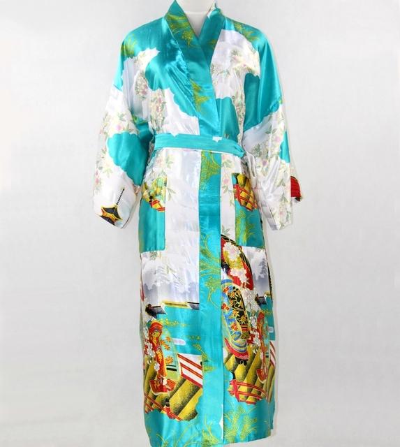Venda quente azul das mulheres de seda Kimono Bath vestido verão Sexy longo roupa nacional chinesa de casamento da noiva Robe sml XL XXL XXXL SR014
