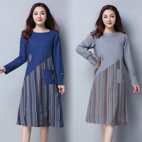 New Korean Fan Art Style Cotton Linen Girl S Long Sleeve Fashion Autumn Dress Striped Women