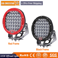 Pair 185W Round 9inch Led Driving Work Light 4x4 Offroad Lights For Truck 4WD SUV ATV