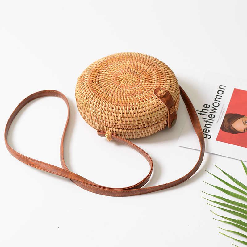 COZMOZ круглые сумки из ротанга для женщин Женская тканая пляжная сумка через плечо тканая женская сумка ручной работы летняя сумочка из соломы