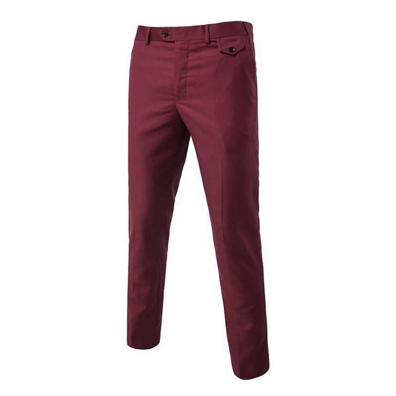 正式な豪華なドレスパンツ男性フラットスリムビジネスマンスーツパンツ夏薄型ズボンオフィスカジュアル固体パンタロン衣装オム
