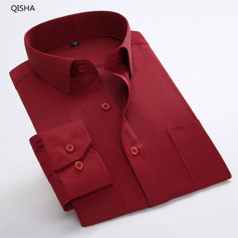 Plus Size 8XL Long Sleeve Solid 6XL Mens Casual Social Shirts Big size Men Blouse Work Clothes 5XL 6XL 7XL Cheap QiSha BS12xx