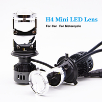 2pcs H4 9003 LED 1.5 inch Mini Bi LED Projector Lens Headlight 60W Headlamp Retrofit DIY High Low Lights Car Styling 6000K