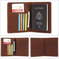 Business Card Holder Genuine Leather Passport Bag Unisex Card Package Simple Document Folder Purses and Handbags for Credit Card