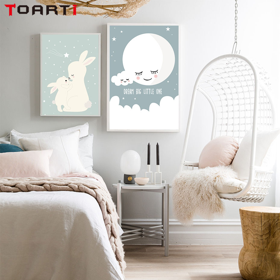 Nordic Style Animal Deer Bear Dog Canvas Painting Posters