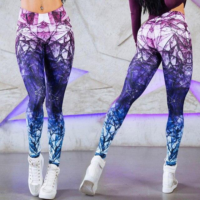 Women Yoga Pants 3D Print Compression Elasticity Fitness Sports Leggings 1