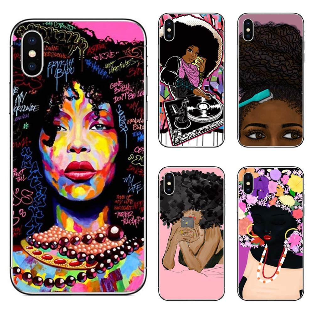 Fashion Afro Girls Melanin Quwen Transparent Hard PC Phone