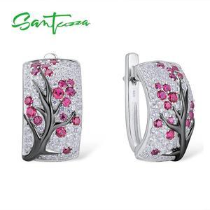 Image 3 - SANTUZZA Silber Schmuck Set für Frauen Shiny Rosa Baum Ohrringe Ring Set 925 Sterling Silber Mode Schmuck