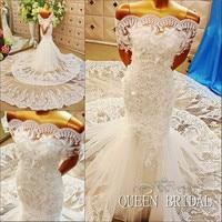 ODM Mermaid Wedding Dresses 2015 Lace Applique Beaded Chapel Train Brdal Gown Vestido De Noiva 2015