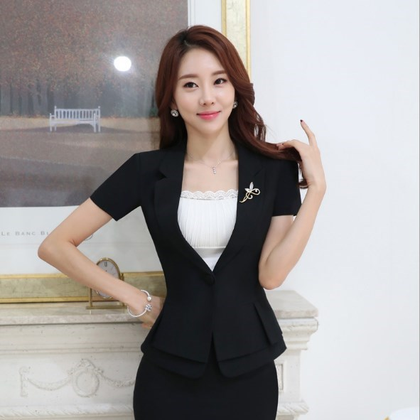 2 pièces ensemble vêtements bureau uniformes conceptions femmes d'affaires costumes avec jupe décontracté Mini jupe costumes femme travail tenue