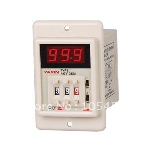 12VDC/24VDC/110VAC/220VAC digital power on time delay relay timer 0.1s-999m LED display ASY-3SM 8 pin panel installed DPDT 12v timing delay relay module cycle timer digital led dual display 0 999 hours