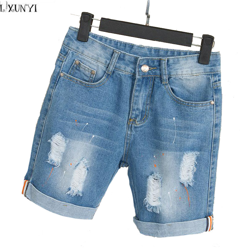 Summer Shorts Women jeans Plus Size New Arrival  2017 Thin Straight Cuffs Ripped Hole Casual Denim Shorts Feminino Cintura alta