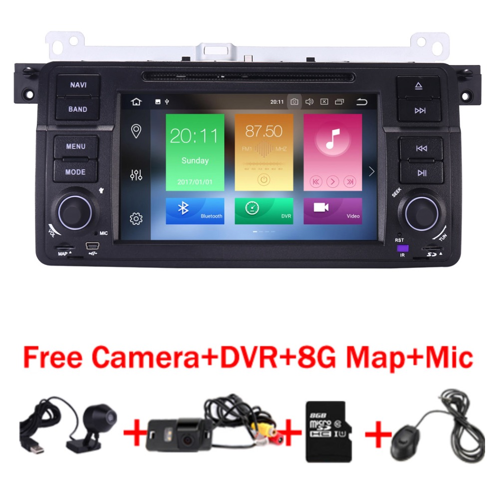 2018 In Stock Car DVD Player for BMW E46 Navigation Android 8.0 Wifi 4G 3G GPS Bluetooth Radio RDS USB SD Free 8GB SD Map DVR 2gb 32gb 8 8 android 7 1 car dvd player for bmw series 5 e60 e61 e62 gps navi idrive wifi bluetooth radio rds free camera map