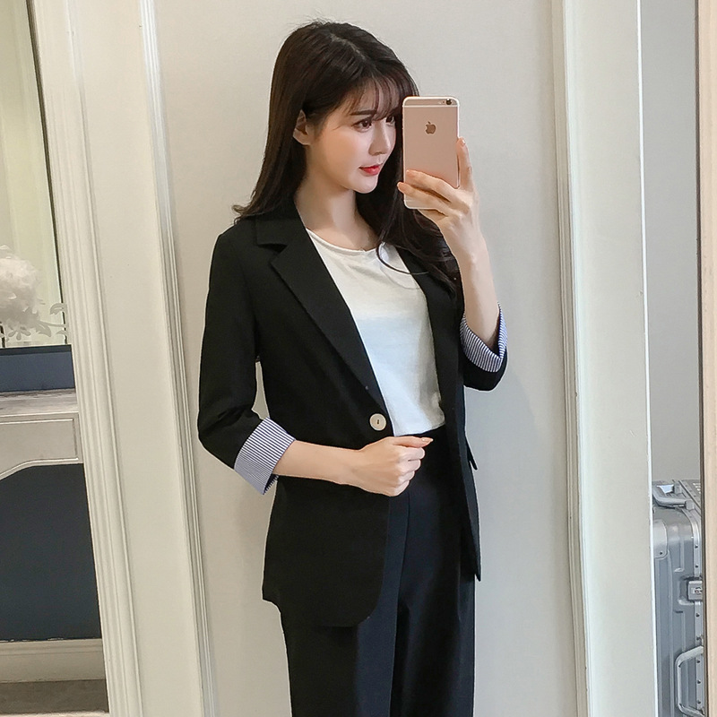 Set female 2018 summer new style temperament fashion casual small suit + nine pants trousers elegant two-piece solid color wild