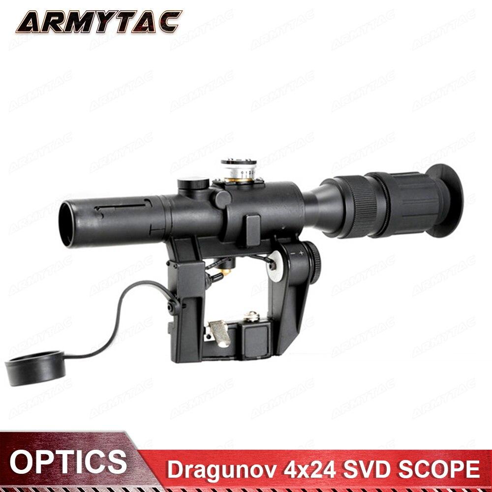 Optique Dragunov 4x24 SVD Premier Plan Focal Sniper Fusil Portée Fit AK 47 rouge Lumineux Sight Fusil Portée