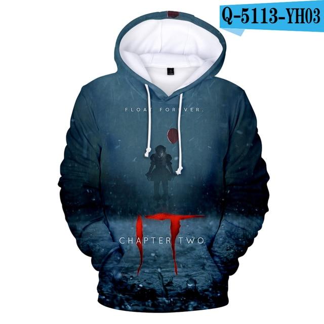 Hot sale IT chapter 2 3d hoodie sweatshirt men women fashion casual hip hop streetwear IT chapter 2 long sleeve hooded pullover