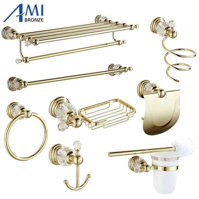 Crystal Bathroom Hardware: Golden Polished Brass & Crystal Bathroom Accessories Bath