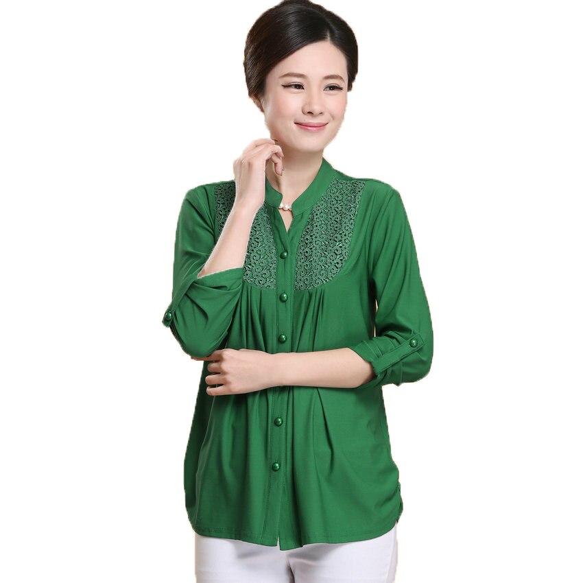 Buy WAEOLSA Shirts Green Blue Pink Tops Blouse Button Tunic