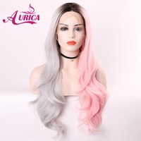 Aurica Ombre Half Grey Half Pink Heat Safe Synthetic Hair Lace Front Wig With Brown Roots For Women