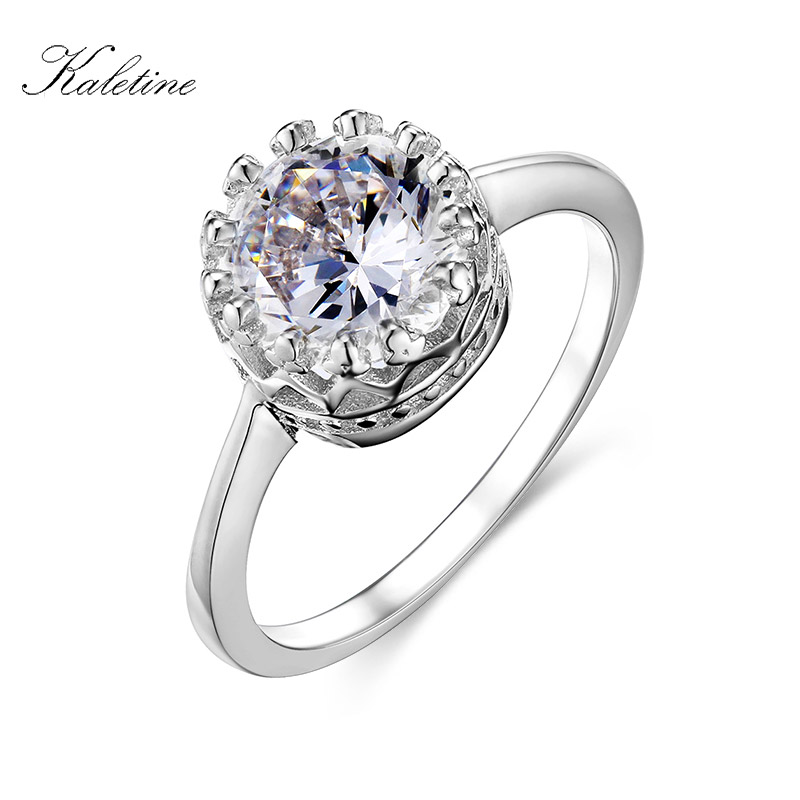 KALETINE 925 Sterling Silver Crown Ring Wedding Engagement Rings 1.5 Carat Cubic Zirconia Heart&Arrows For Woman Jewelry KLTR008