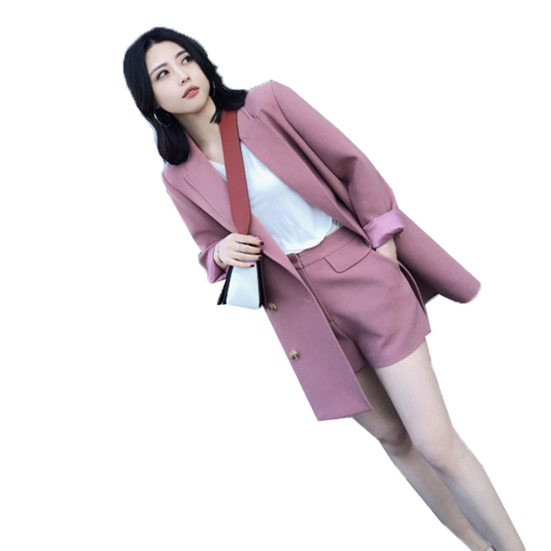 Autumn Two Pieces sets 2018 fashion long suit jacket female casual blazer coat + shorts  ...