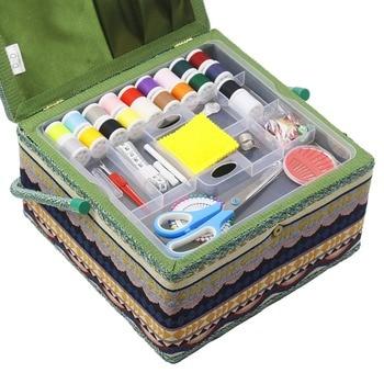 набор для шитья   Большие наборы для шитья швейная коробка тканевая швейная корзина для хранения шовная игла швейные нитки инструменты корзина для хранения ...