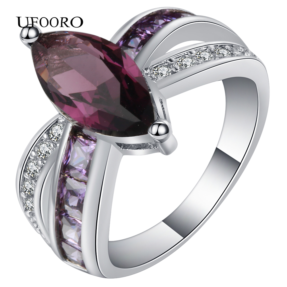 Hot purple cross finger ring crystal wedding ring Jewelry Vintage Wedding Rings For Women Birthday Stone Gifts