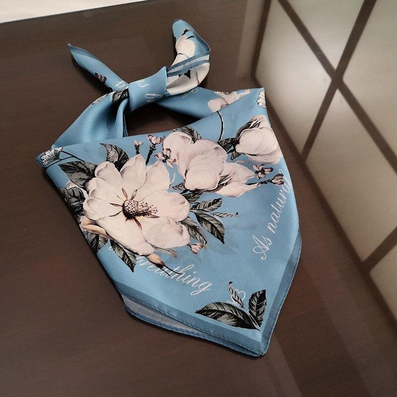 Spring Silk 53*53cm Scarf WomenSmall Square 100%  Ladies Satin Smog Blue Kapok