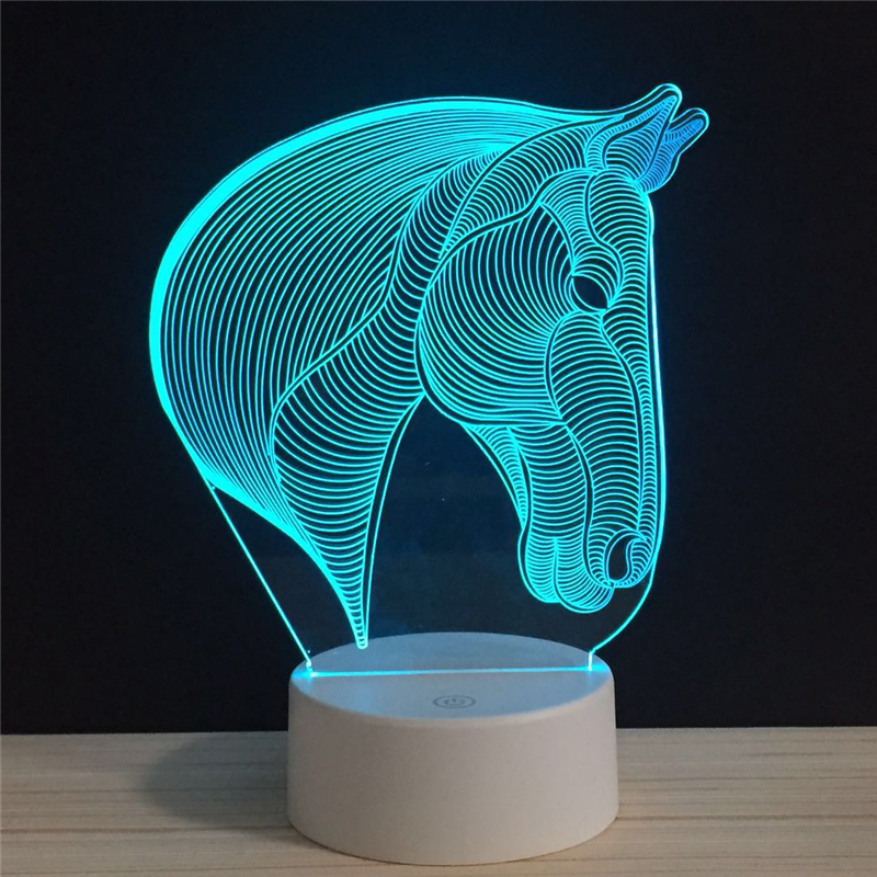 Horse Head Lucky Side Face LED 3D NightLight Acrylic Night Lamp Light Luminary With Touch Remote Lamps Lights Kids Decoration