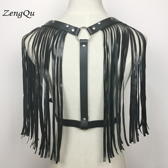 f0c5db75360 Dark Rock street Tassel leather Waist belt Straps Adjustable Buckle Belt  garter belt leather suspenders for