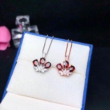 70d418585297 De Lujo granate rojo corona collar de las mujeres plata 925 flor de loto  joyería 4 5mm   3 piezas de piedras preciosas de terciopelo caja  certificado FN218