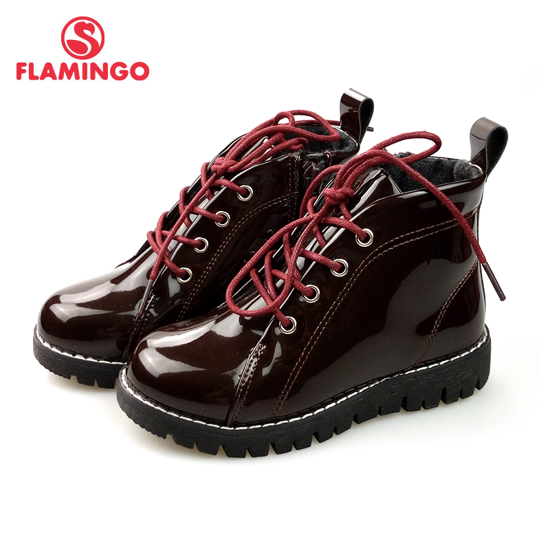 FLAMINGO Russian brand autumn/winter fashion kids boots high quality Bright leather anti-slip kids shoes for girl 82B-MLB-0914