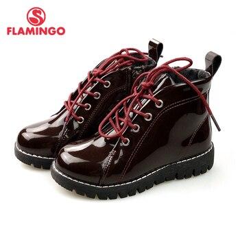 Marca rusa FLAMINGO, botas de moda de otoño/invierno para niños, zapatos antideslizantes de cuero brillante de alta calidad para niños, 82B-MLB-0914