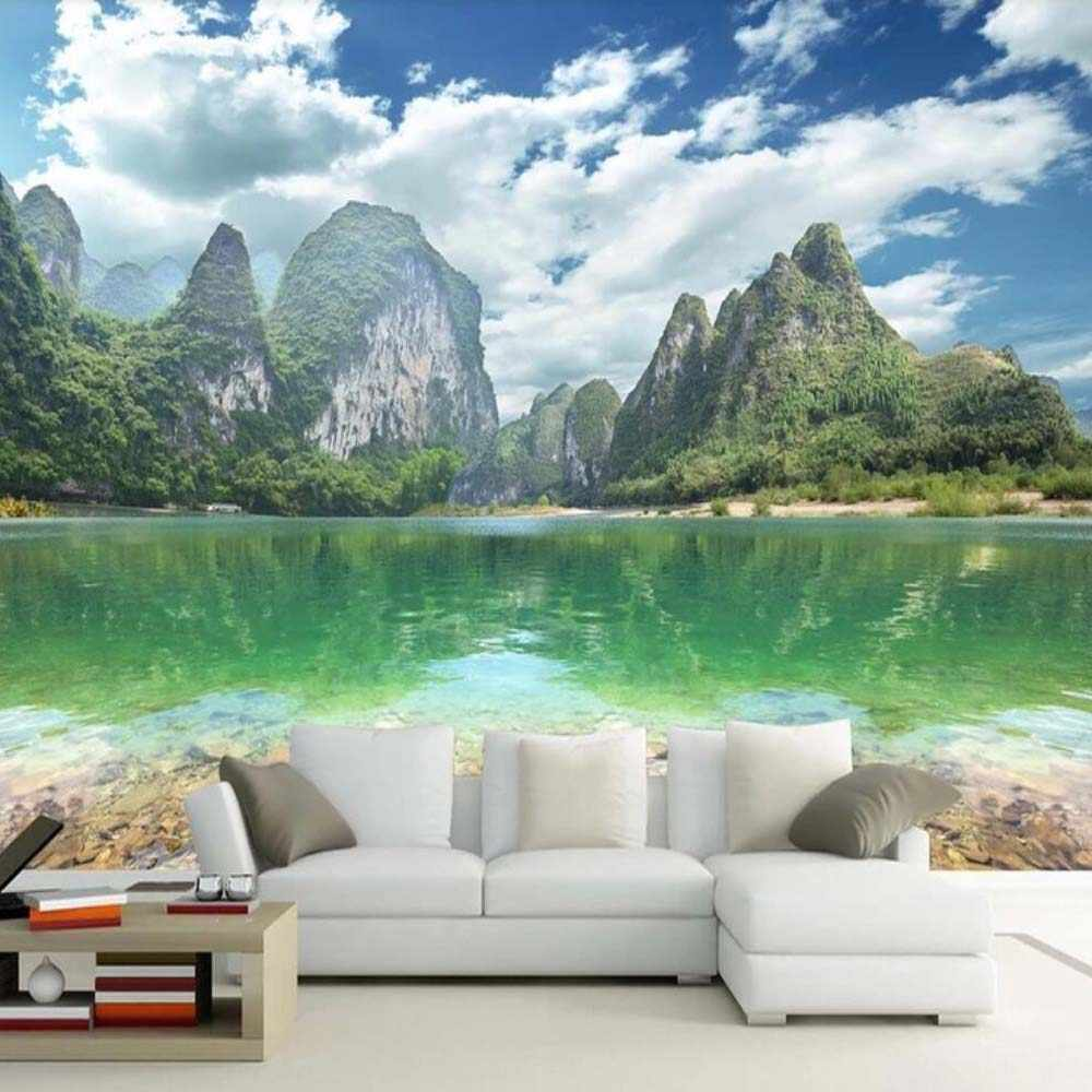 HD Cetak Foto Wallpaper Danau Gunung Pemandangan Alam Lukisan Dinding Untuk Ruang Tamu Dekorasi Dinding Rumah Ukuran Custom Dinding Kertas Rolls
