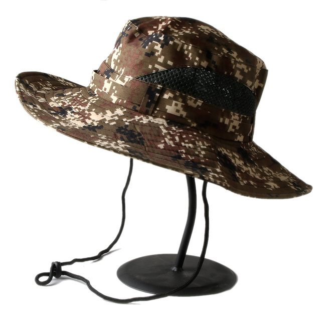 Outdoor Summer Top Quality Thicken MULTICAM HAT ARMY BOONIE HAT Military  Camouflage Mesh Bucket Hats Hunting Hiking Fishing 76be1ac00ea4