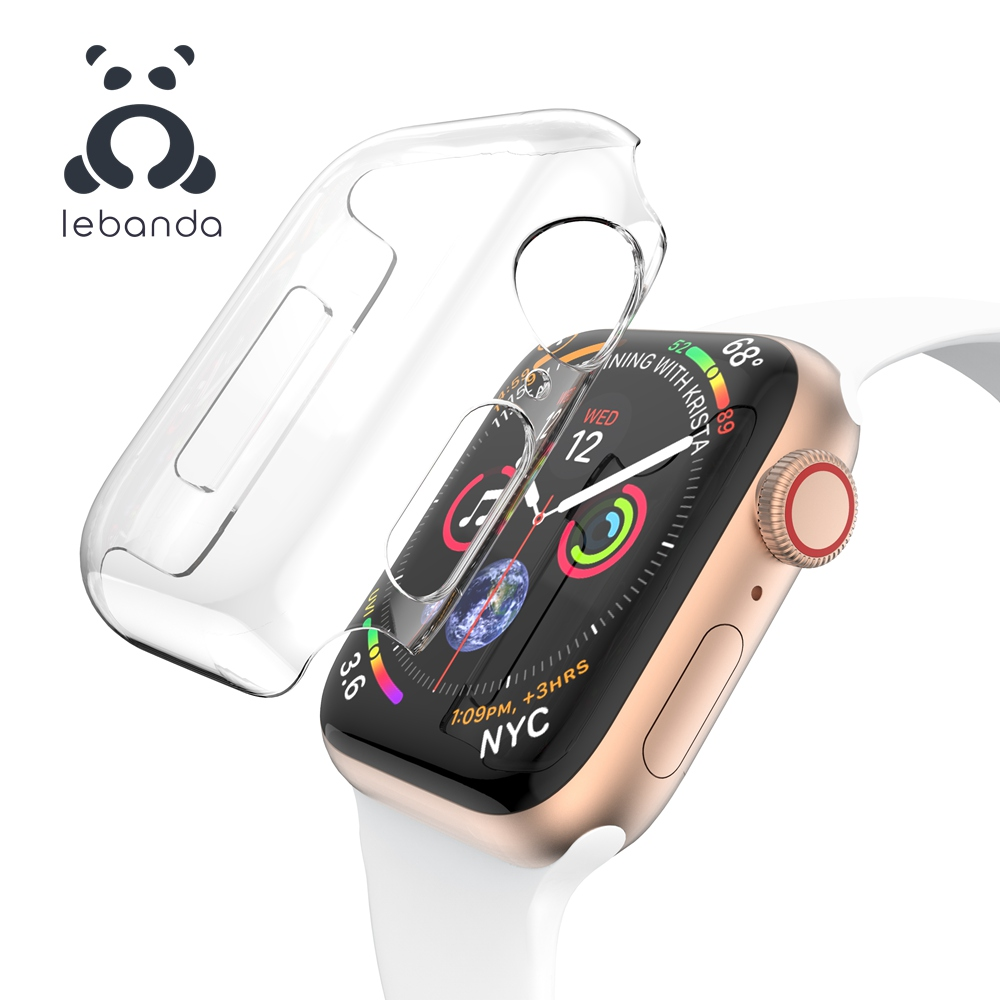 Lebanda Cover For Apple Watch 5 4 3 2 1 Case For Iwatch Screen Protector Bumper Hard PC Transparent 38 40 42 44mm Clear Slim-fit
