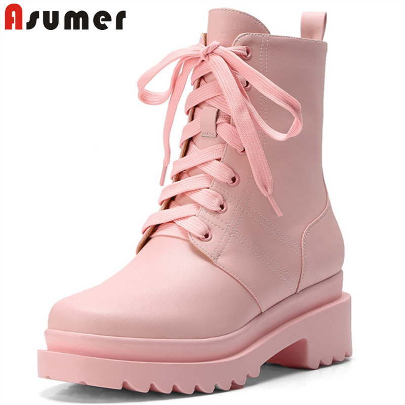 ASUMER black fashion genuine leather boots round toe lace up ankle boots for women square heel autumn winter boots ladies shoes english digital cordless phone with answer systerm call id home wireless base station cordless fixed telephone for office home