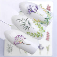 YWK 2019 NEW Designs Colored Grass Water Transfer Sticker Nail Art Decals DIY Fashion Wraps Tips Manicure Tools 12 designs nail art sticker decals water transfer cartoon unicorn designs colorful diy nail wraps tips manicure sabn637 648