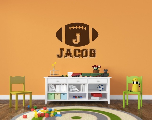 Customize Name Rugby Sport Wall Stickers For Kids Room Living Room Wallpapers Decals Vinyl Wall Art Home Decor Murals S-353