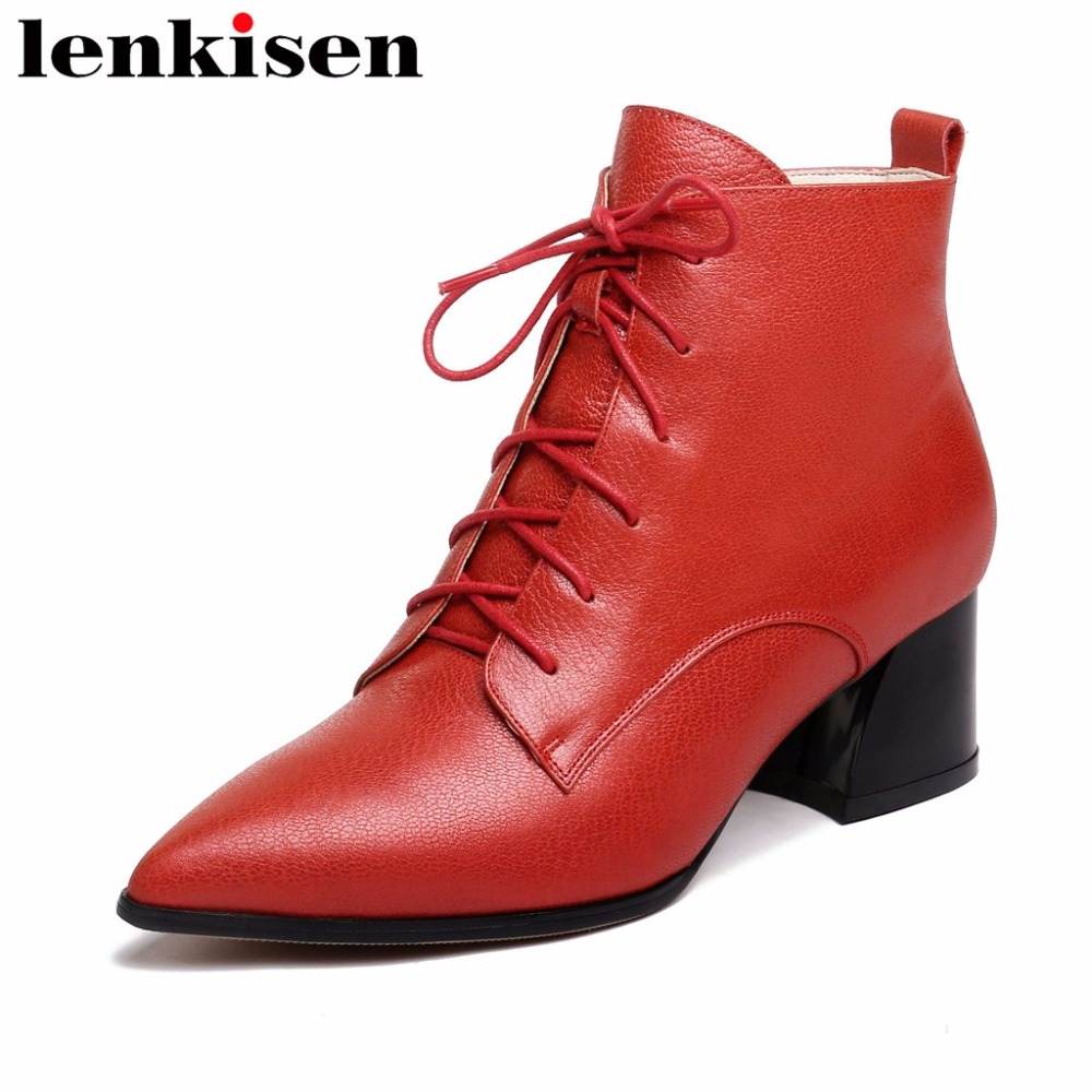 Lenkisen retro british style pointed toe cow leather thick med heels plus size zip famous concise brand women ankle boots L8f2 цена